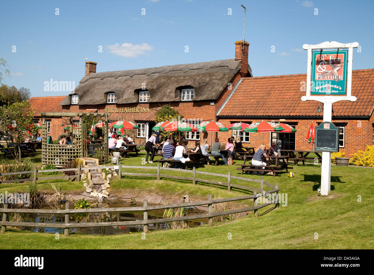 Norfolk Broads pubs inns - The Fur and Feathers Inn, Woodbastwick, Norfolk, East Anglia, UK - Stock Image