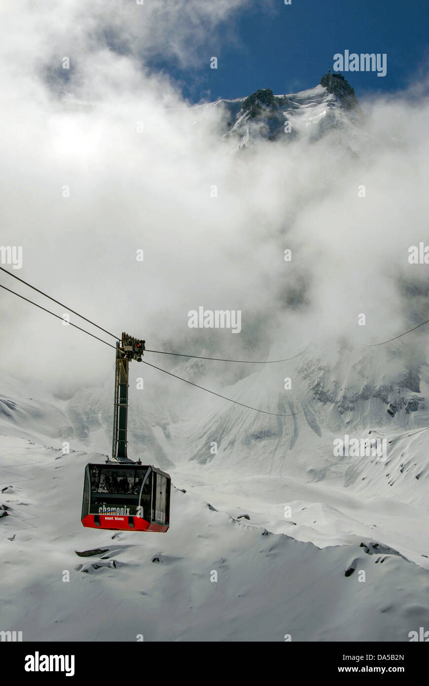 Aiguille du Midi cable-car Chamonix Mont Blanc Stock Photo