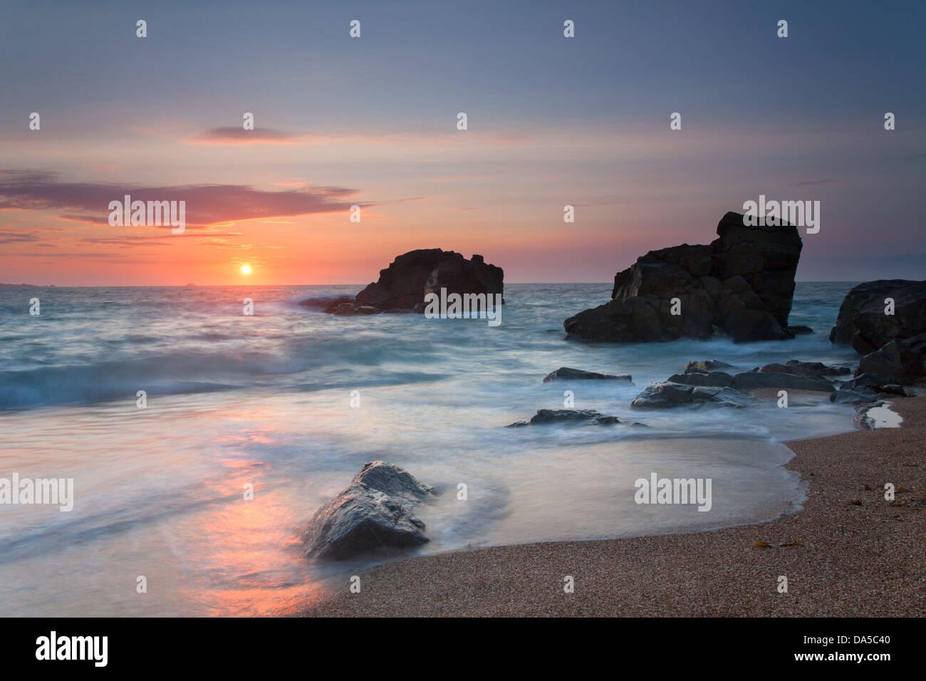 Saline Bay sunset, Alderney Channel Islands - Stock Image
