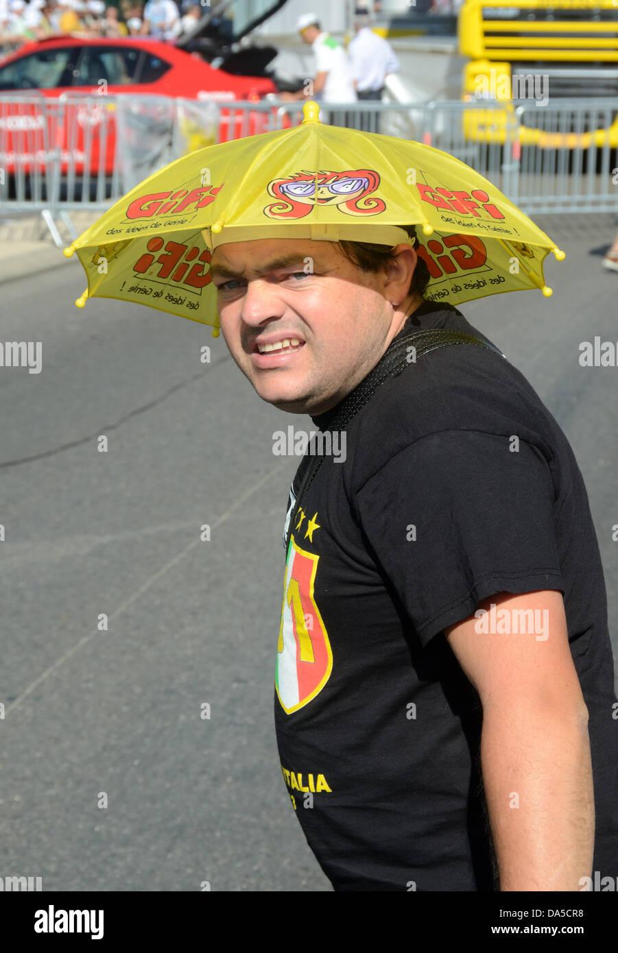 d3c8198cc92ae Man Wearing Funny Umbrella Hat. Provence