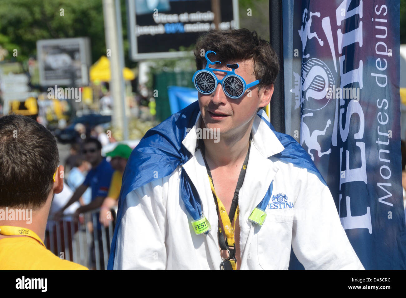 Spectator Wearing Funny Bicycle Shaped Glasses At The Tour De France