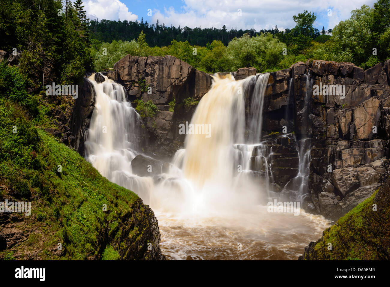 High Falls of the Pigeon River at Grand Portage, Minnesota State Park in summer. This river is the northern border Stock Photo