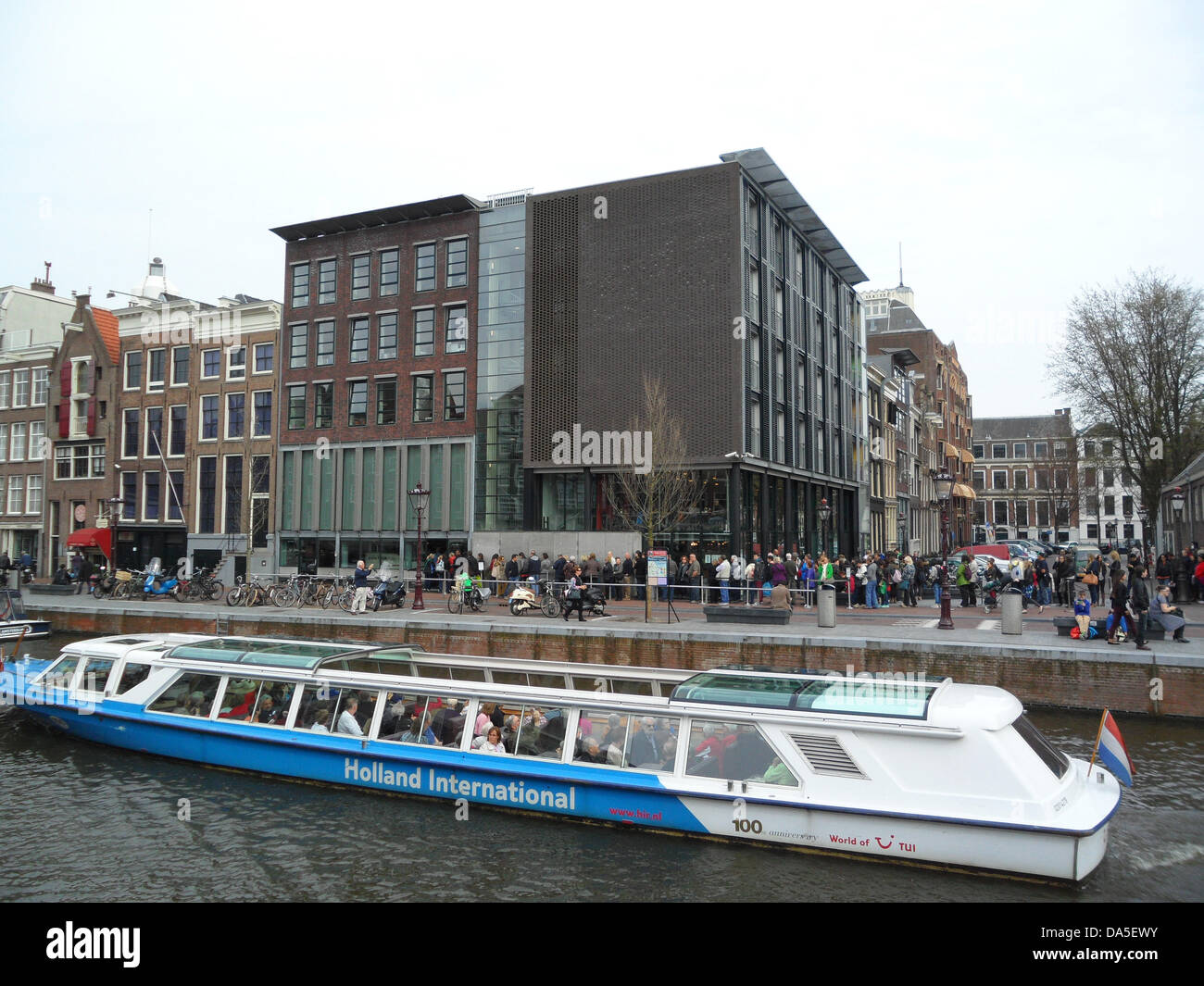 The Anne Frank House Museum at the Prinsengracht 263 in Amsterdam - in the rear house the family of Anne & friends - Stock Image