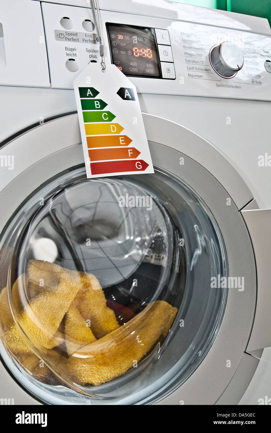 Washing machine with energy efficiency label - Stock Image