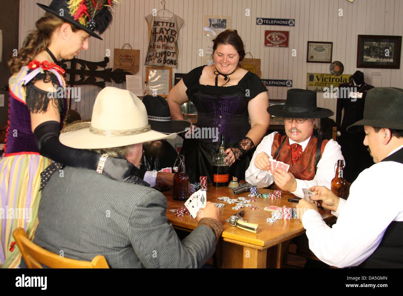 An old west poker game Stock Photo - Alamy