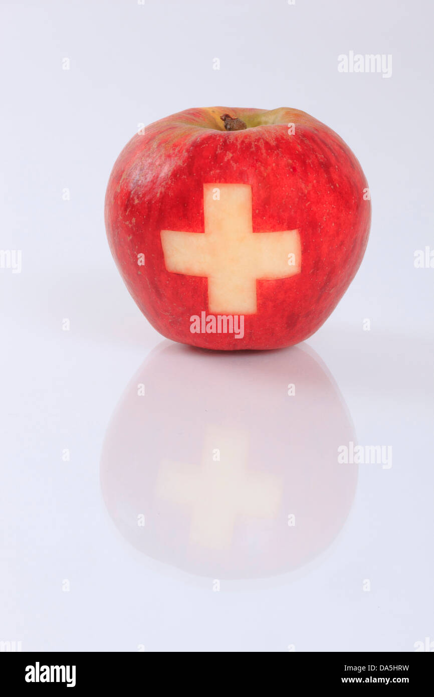1, agrarian, apple, fruit, health, background, pomes, fruit, Switzerland, reflection, studio, symbol, different, - Stock Image