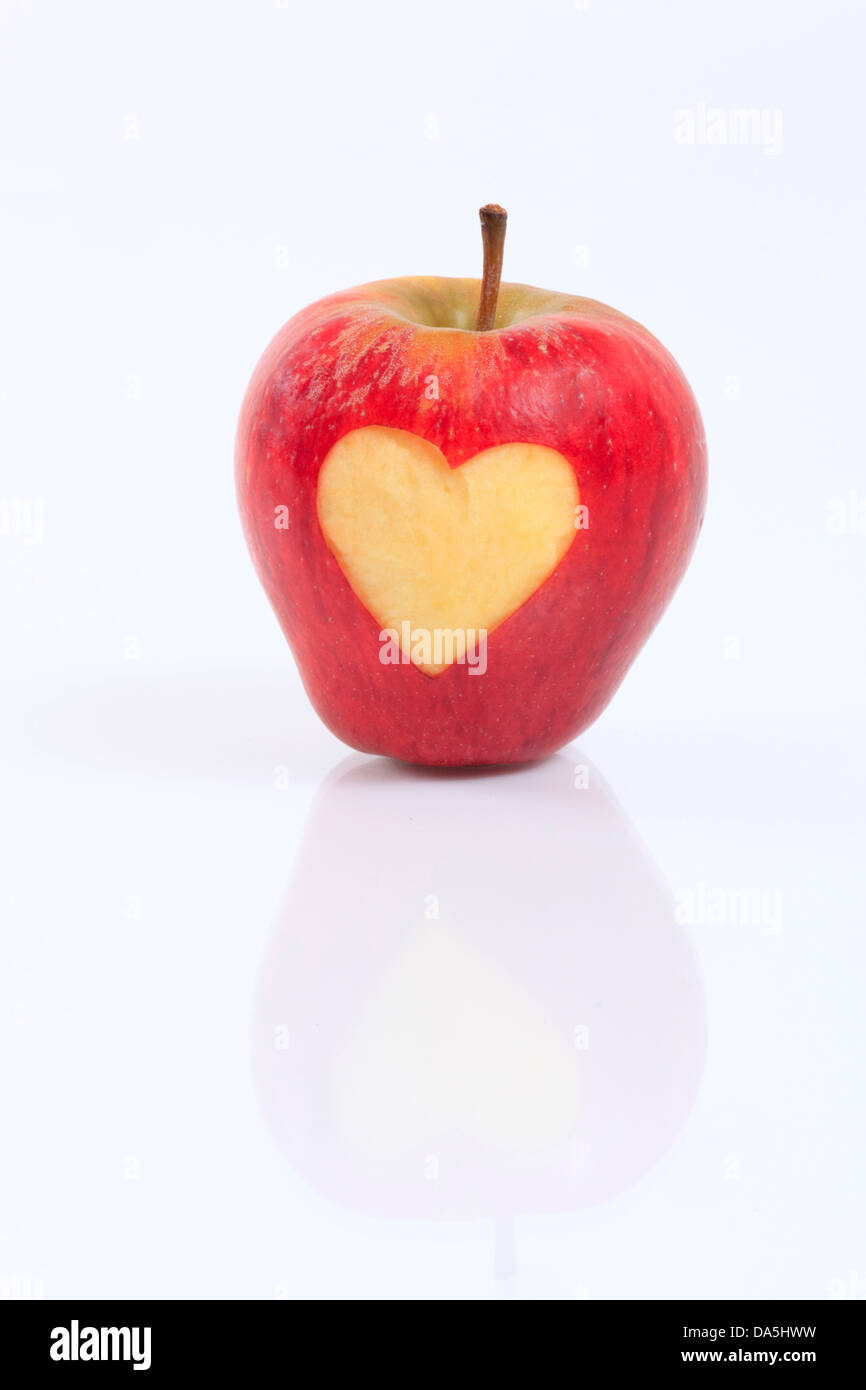 1, agrarian, apple, detail, fruit, health, heart, background, pomes, love, close-up, fruit, quality, reflection, - Stock Image