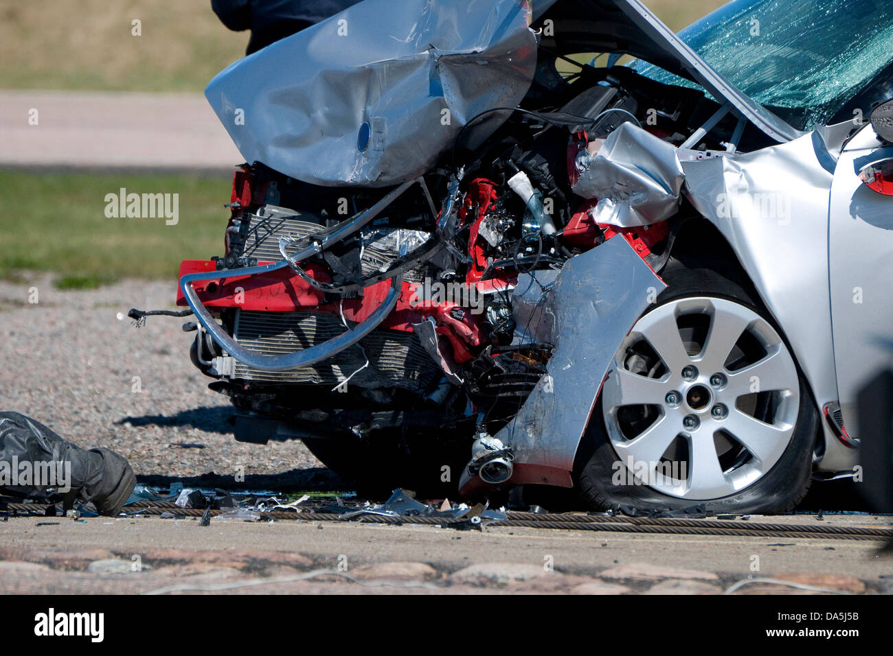crash test motor car in serious accident - Stock Image