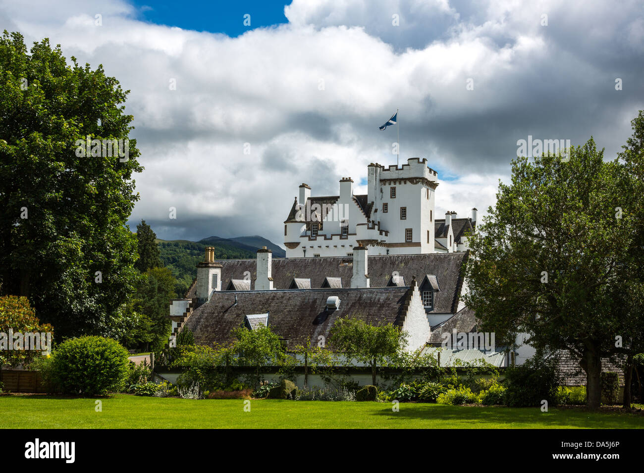 Europe Great Britain, Scotland, Perthshire, Blair Atholl, the Blair castle, home of the Duke of Athool, seen from - Stock Image