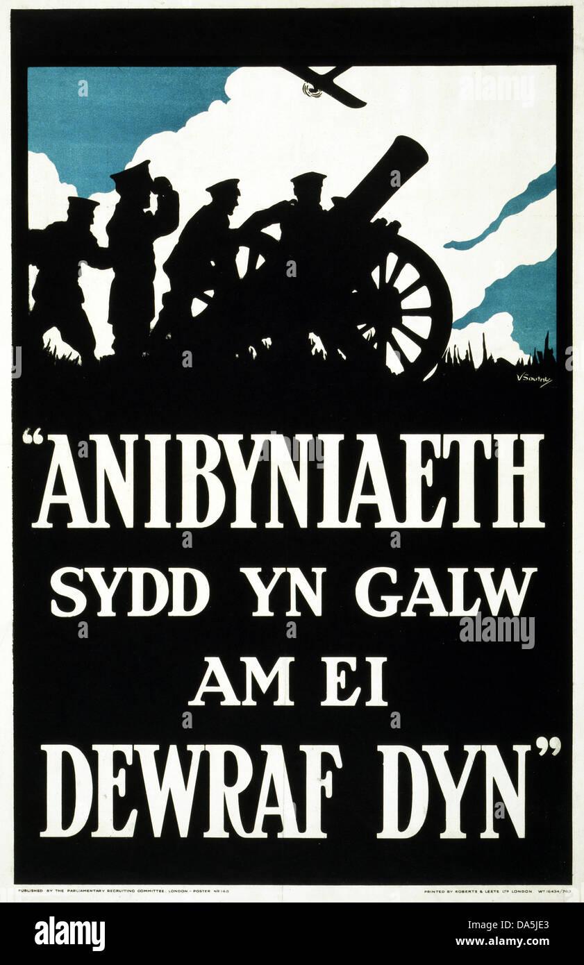 First World War, WWI, World War I, world war, war, Europe, propaganda, poster, Great Britain, British, propaganda Stock Photo