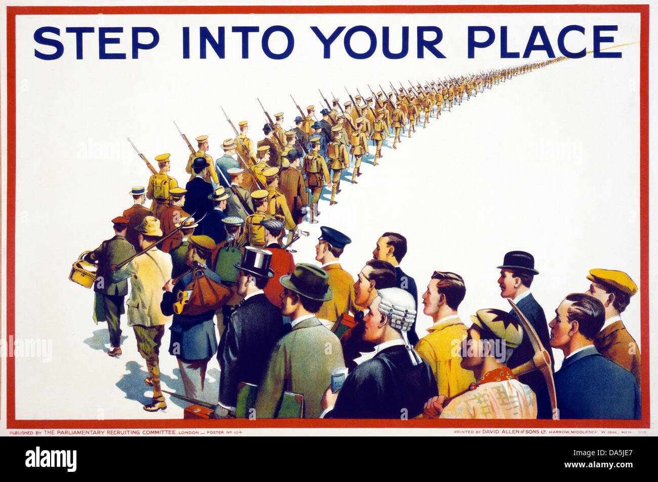 First World War, WWI, World War I, world war, war, Europe, propaganda, poster, Great Britain, British, recruitment Stock Photo