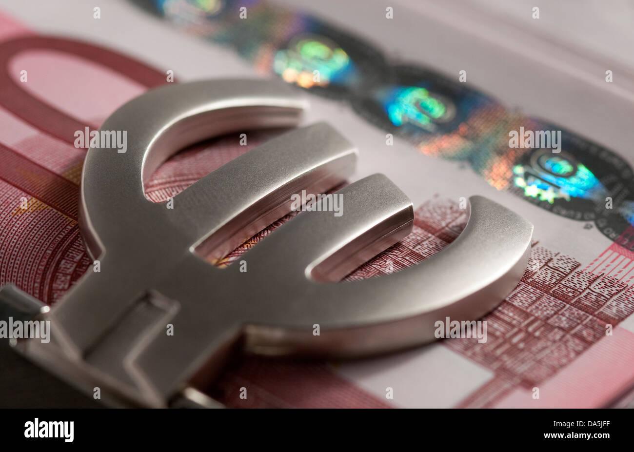 ten euro notes in euro money clip - Stock Image