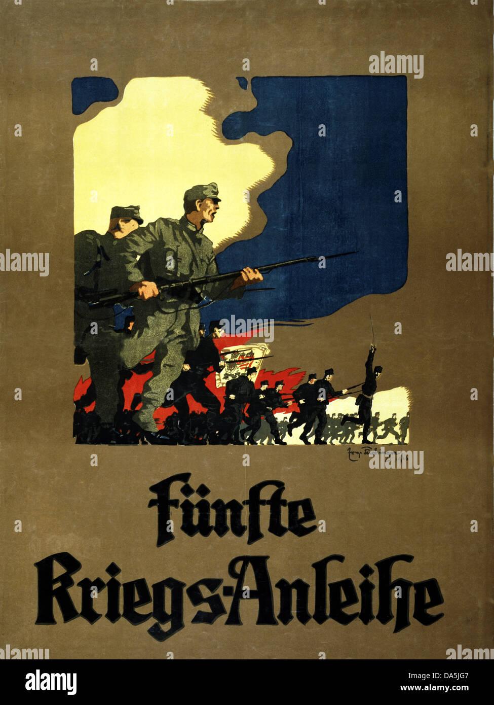 First World War, WWI, World War I, world war, war, Europe, propaganda, poster, Austria, Austrian, propaganda poster, - Stock Image