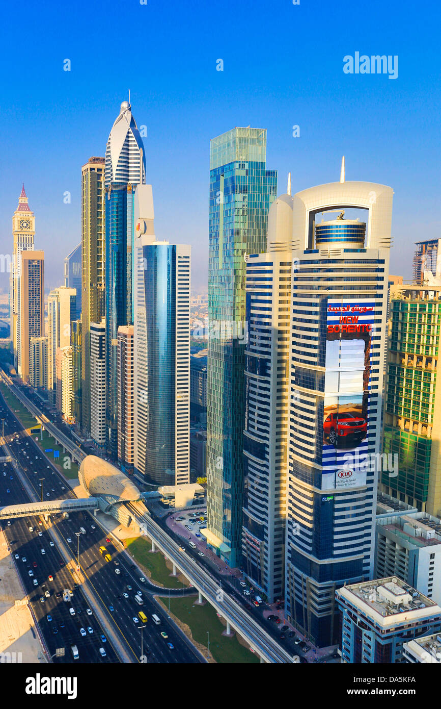 United Arab Emirates, UAE, Dubai, City, Sheikh Zayed, Avenue, Dubai, architecture, center, design, downtown, expressway, - Stock Image