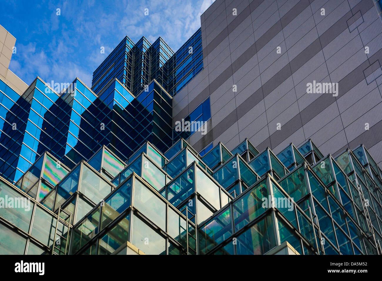 Japan, Asia, Tokyo, City, Ikebukuro, District, detail, architecture, building, glass, ikebukuro, reflection, - Stock Image