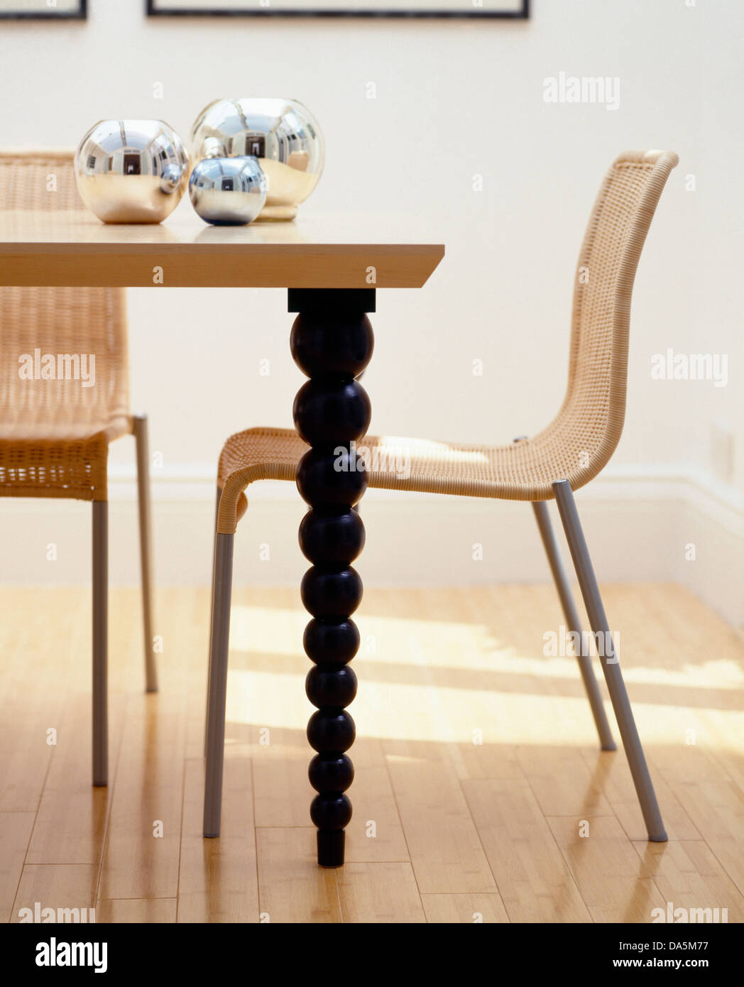 wooden and metal chairs diy wickermetal chairs at wooden table with turned spindle legs in modern dining room