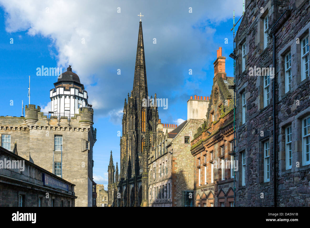 Europe Great Britain, Scotland, Edinburgh, Royal Mile, the Camera Obscura and the Hub tower on the right. - Stock Image