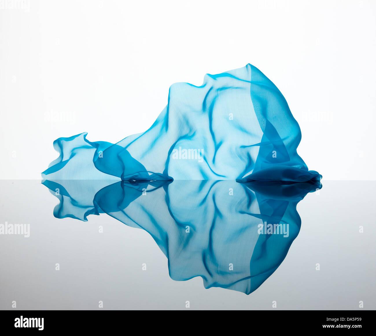 chiffon floating fabric blowing wind falling frozen pretty shapes Stock Photo