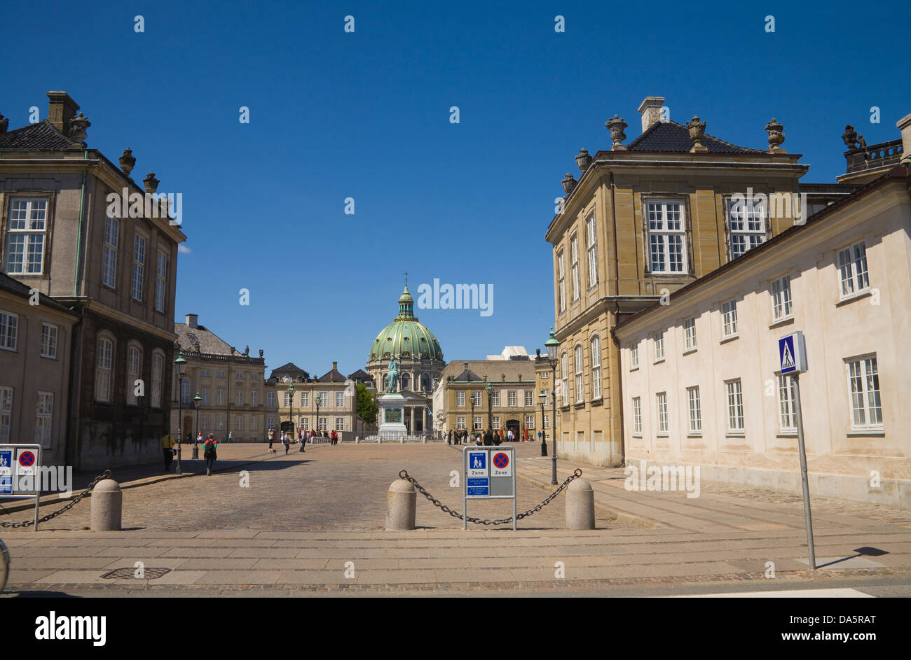 Copenhagen Denmark EU Amalienborg Palace winter residence of Danish Royal Family  King Frederick V statue in octagonal - Stock Image
