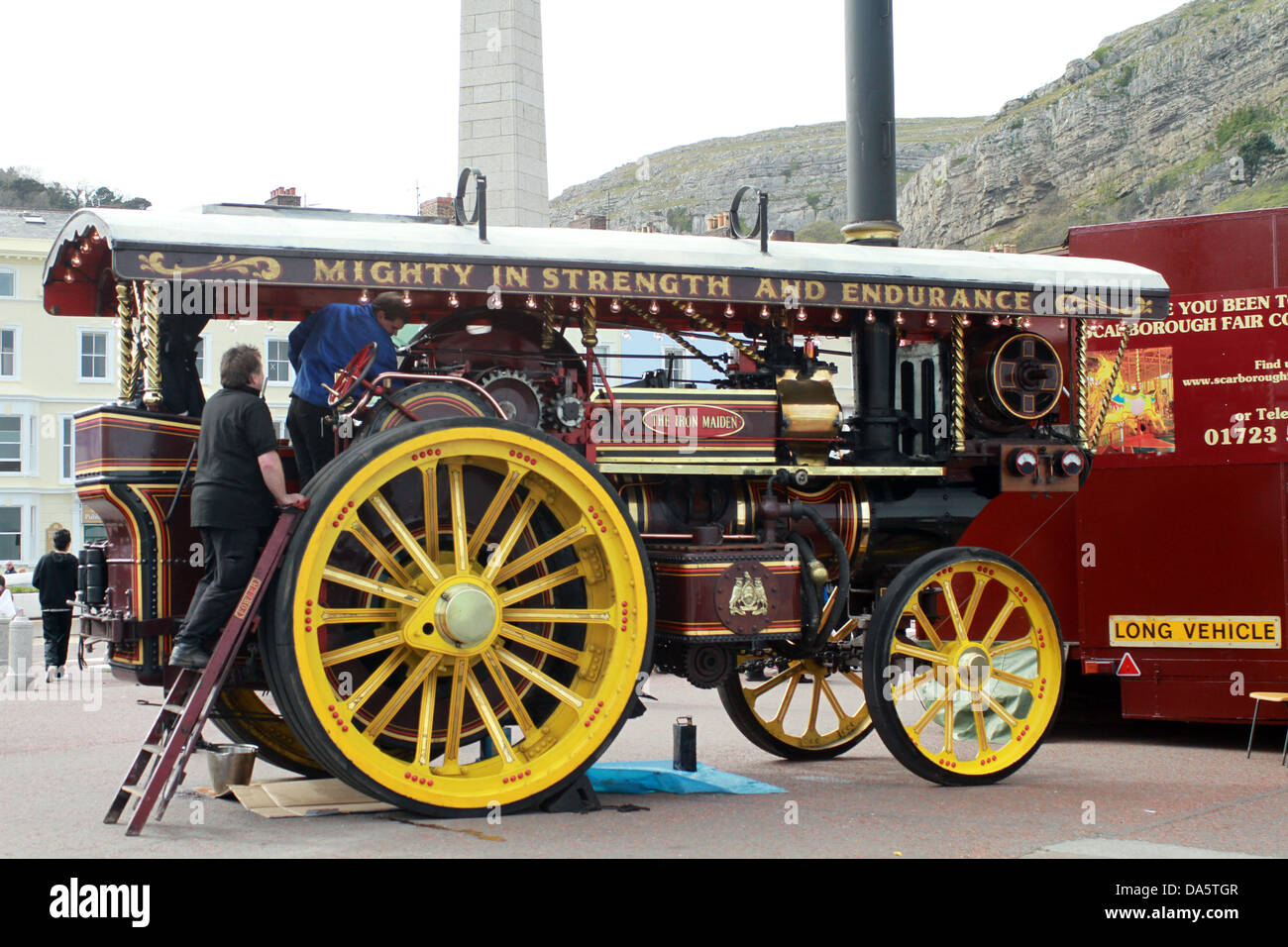 Showman's road locomotive or showman's engine  Iron Maiden Stock Photo