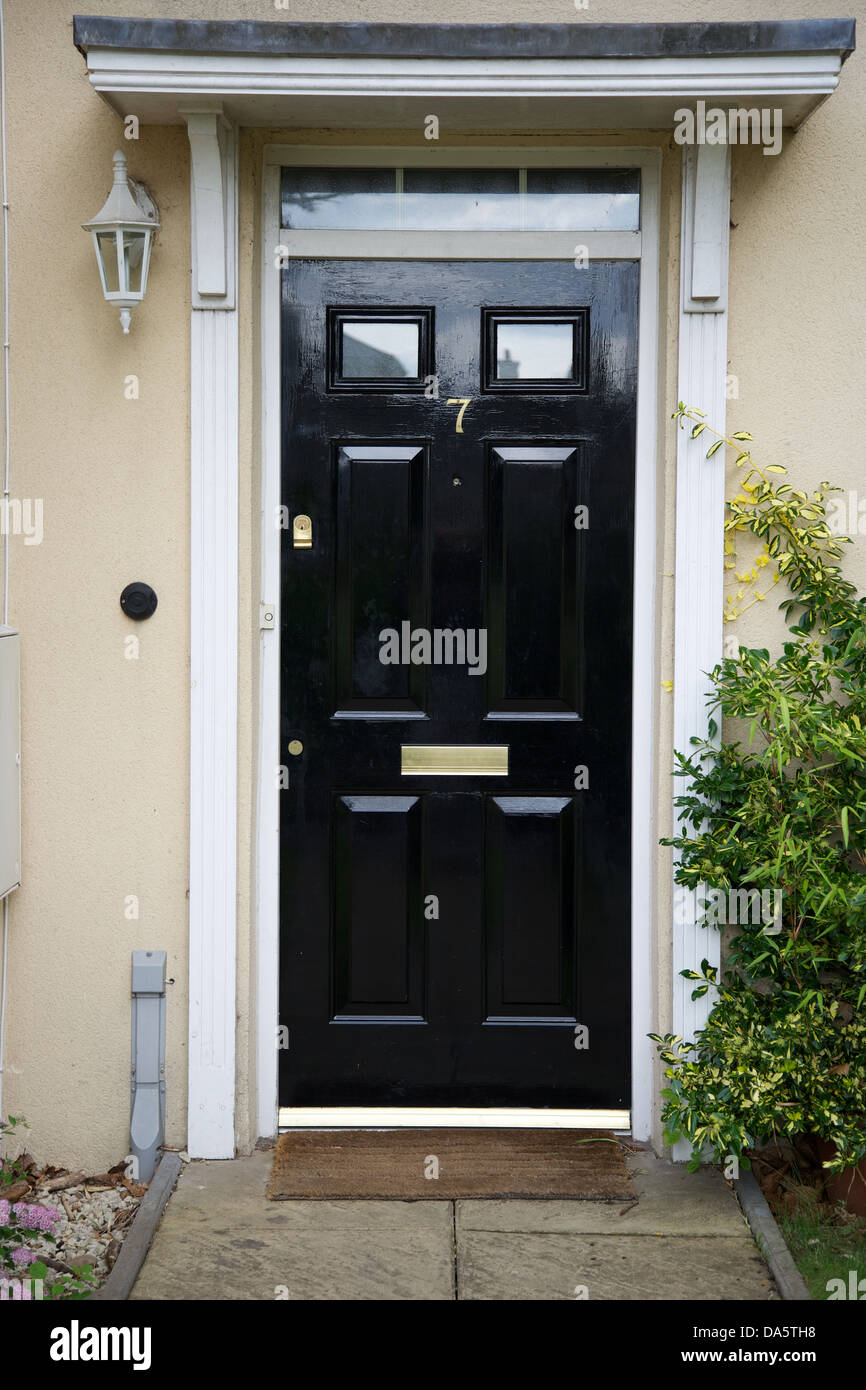A Black Front Door To A Regency Style House Stock Photo 57906724