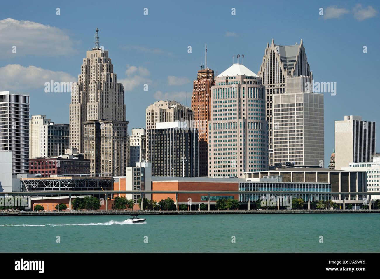Detroit, Detroit River, river, Financial District, Great Lakes, International Riverfront, Michigan, Mid West, Travel, - Stock Image