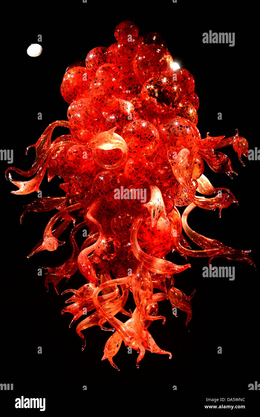 Red glass chandelier by dale chihuly in display chihuly garden and red glass chandelier by dale chihuly in display chihuly garden and glass seattle washington usa mozeypictures Image collections