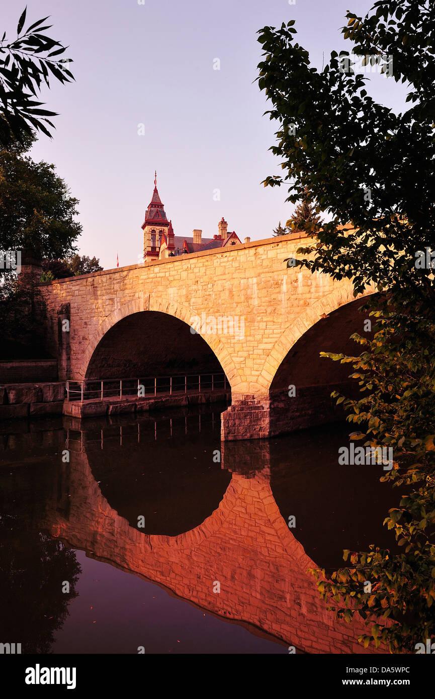 Avon River, river, Bridge, Canada, Ontario, Perth County Court House, Stratford, Travel, Trees, architecture, building, - Stock Image
