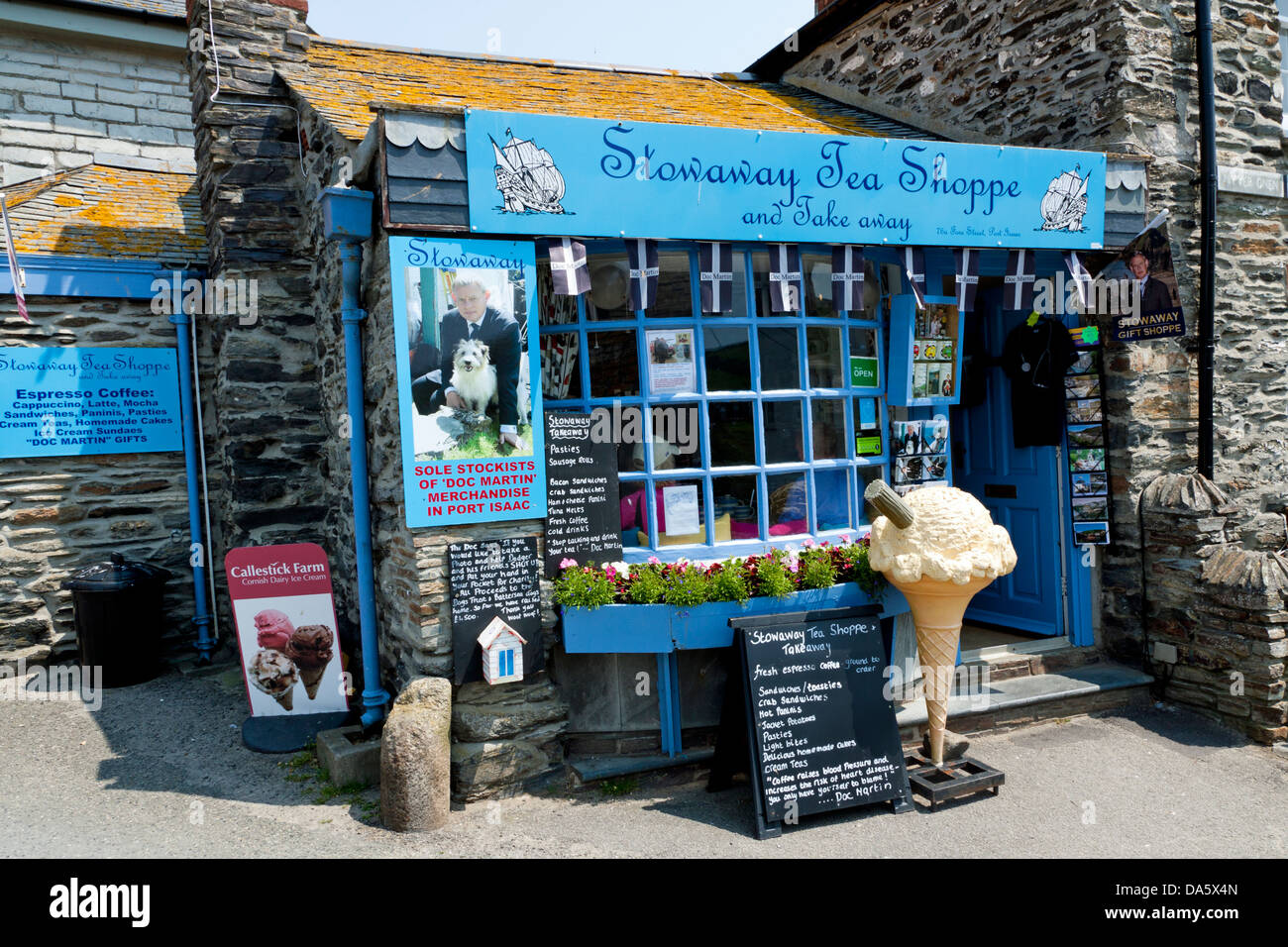 Tea shop in Port Isaac Cornwall capitalizes on Television Series - Doc Martin - Stock Image