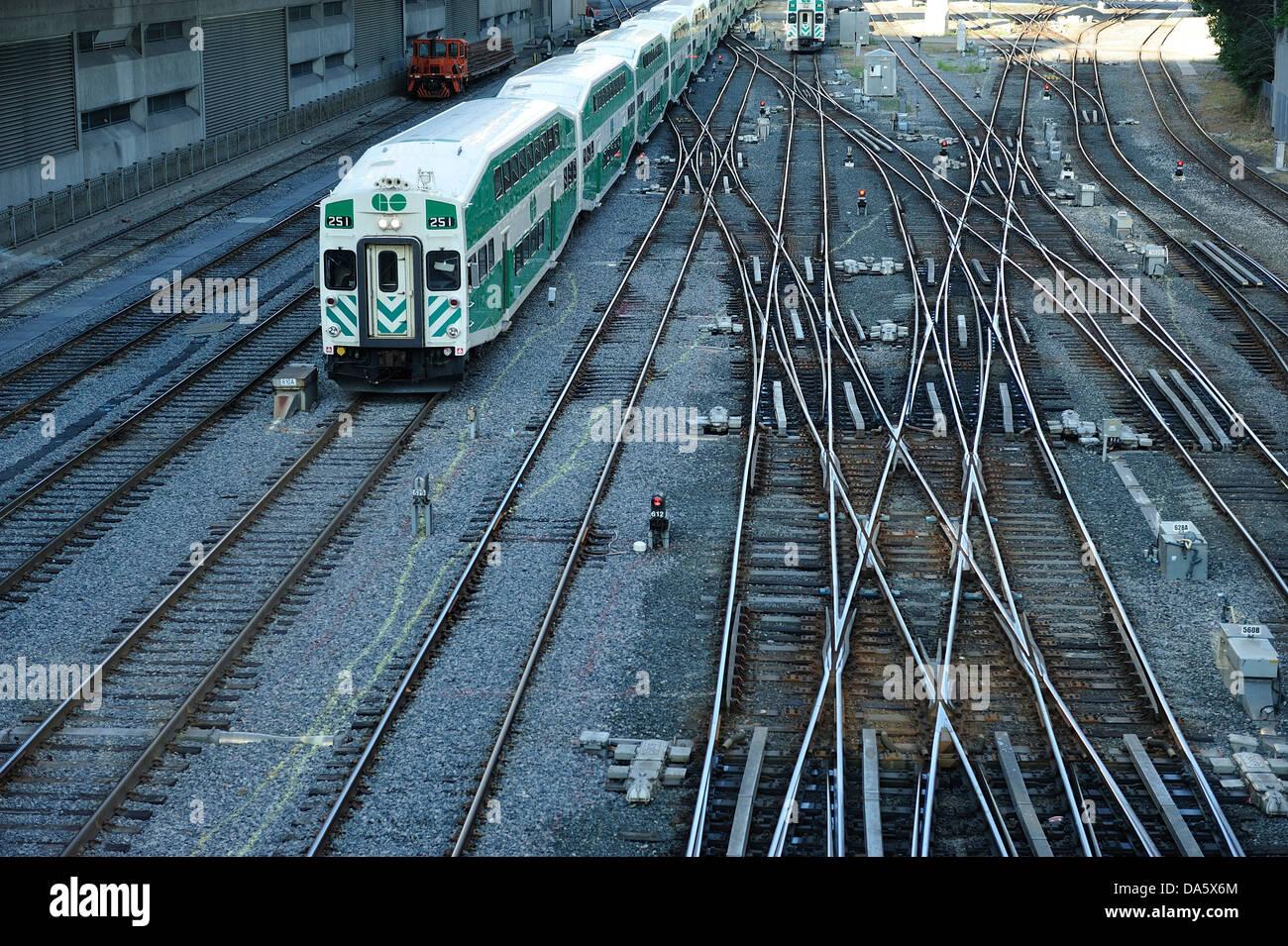 Railway tracks, train, downtown, Ontario, Canada, railway, traffic, Toronto, - Stock Image