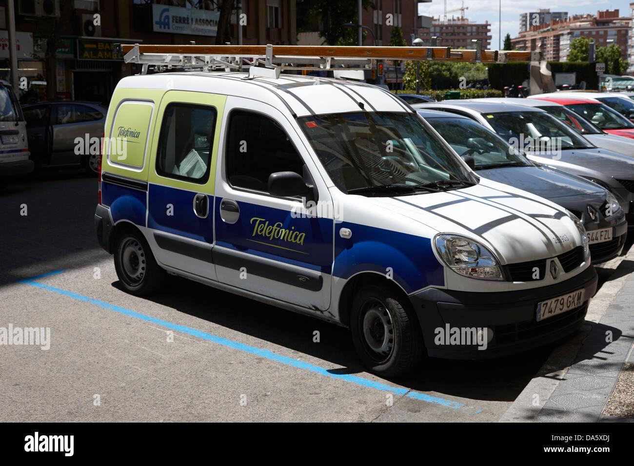 telefonica spanish telephone provider service vehicle in downtown tarragona catalonia spain - Stock Image