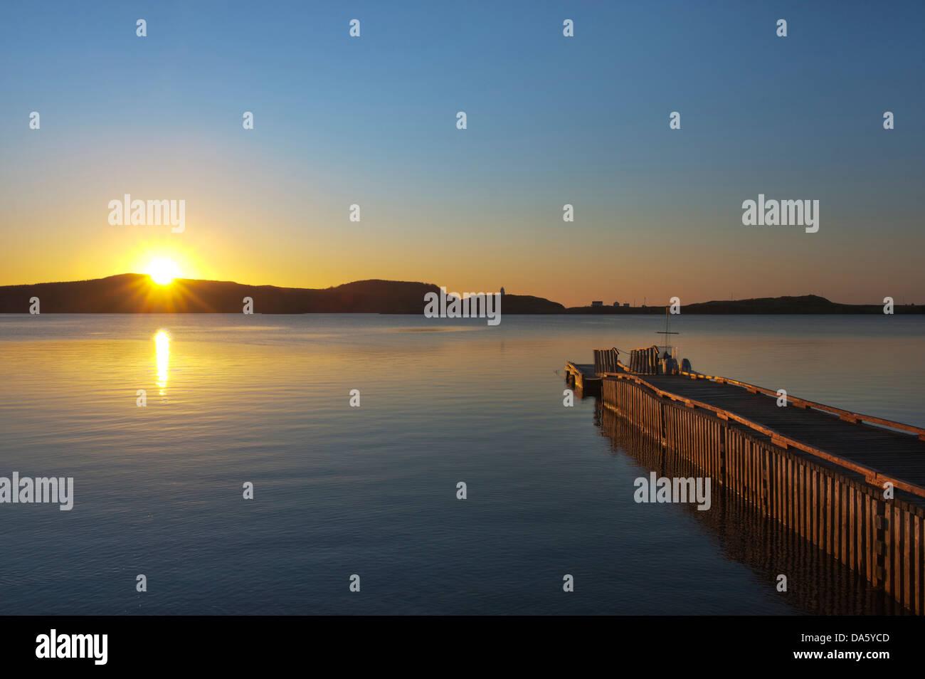 Sunrise, bay, Trinity, Newfoundland, Canada, landing stage, water, landscape - Stock Image