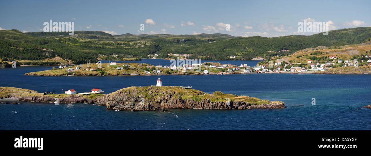 Trinity, Newfoundland, Canada, village, coast, lake, forest - Stock Image