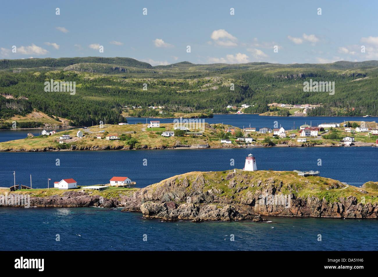 Trinity, Newfoundland, Canada, village, coast, lake, forest, rocks, - Stock Image