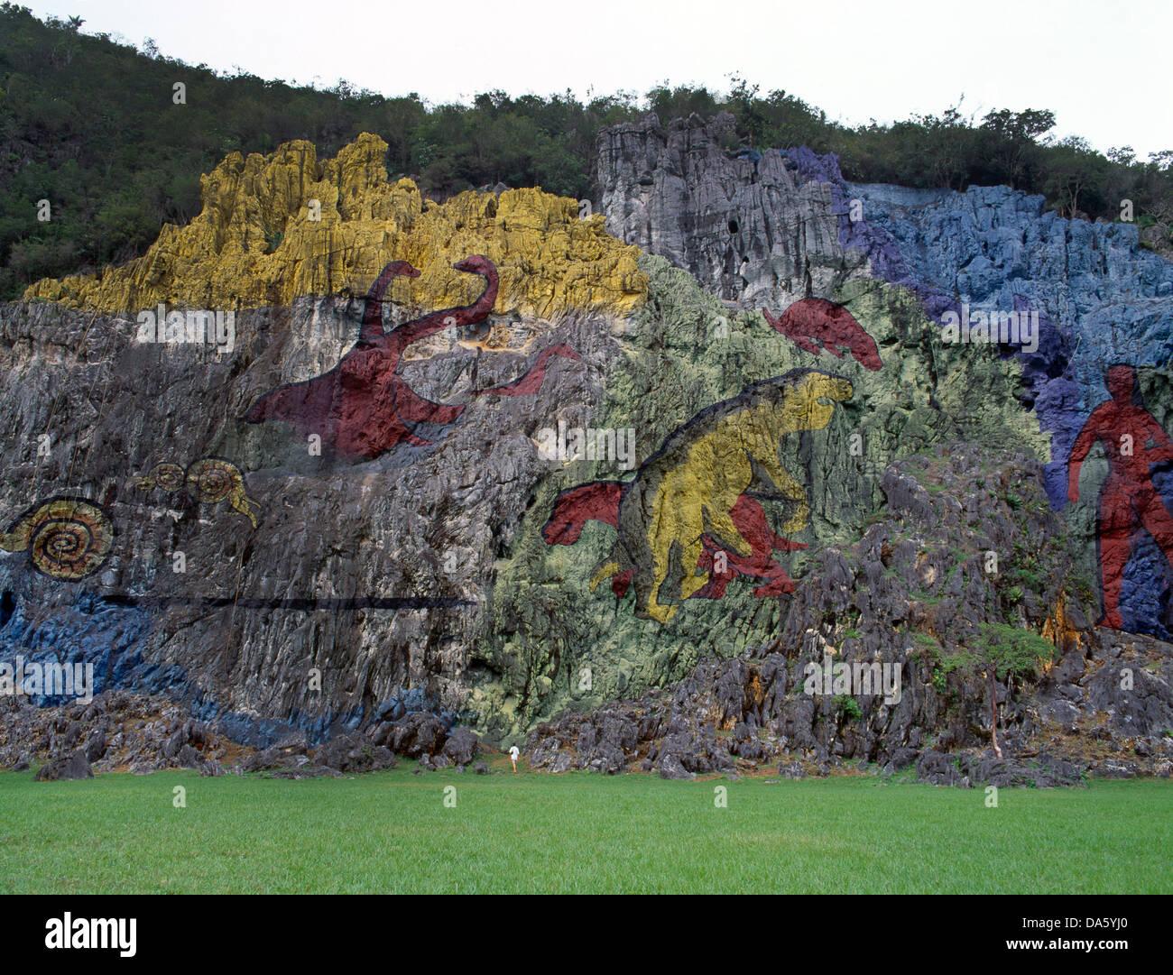 Vinales Cuba Pinar Del Rio Mural Of Prehistory - 1961 - Stock Image