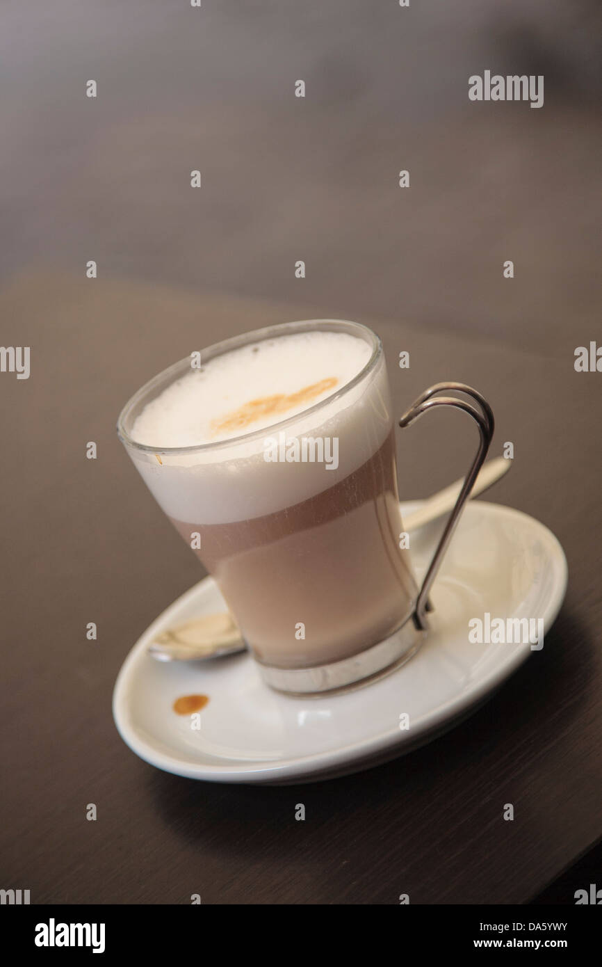 A latte in a cafe in Orvieto, Italy. - Stock Image