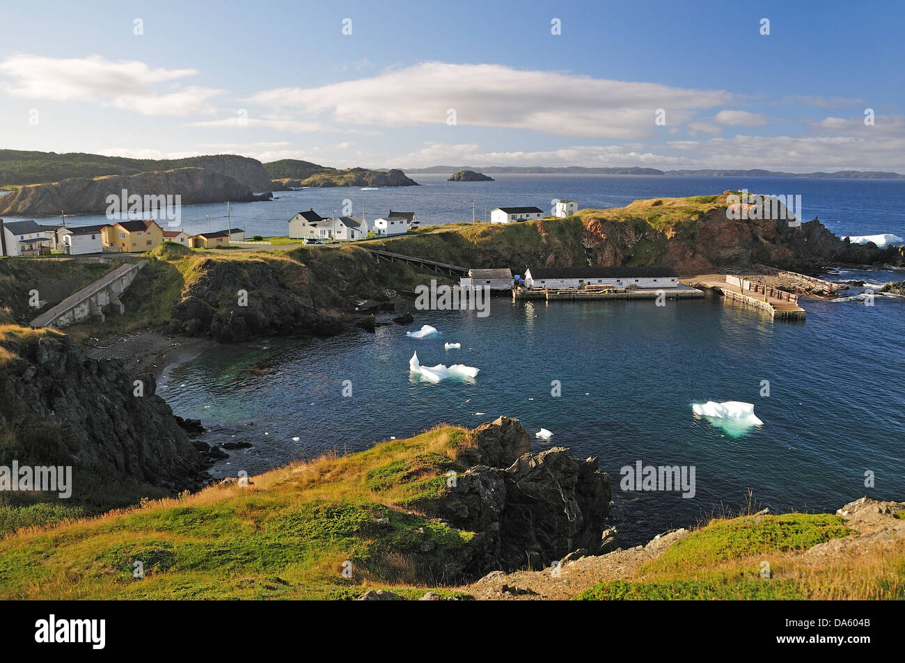 village, bay, secluded, icebergs, iceberg, Crow Head, Twillingate, Newfoundland, Canada, landscape, nature, coast, - Stock Image