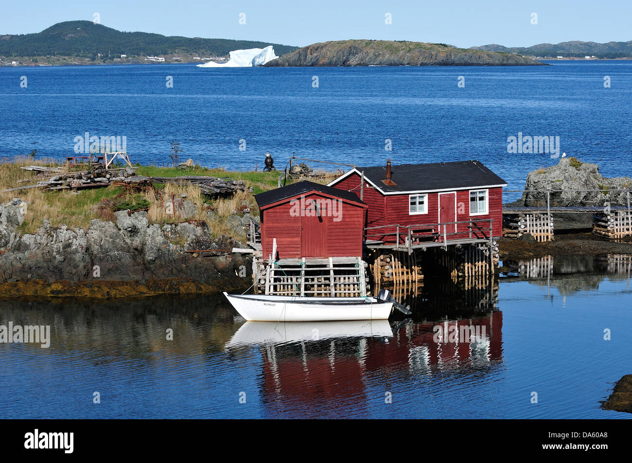 Fishing Village, North Coast, Newfoundland, Canada, village, water, forest, cabin, - Stock Image