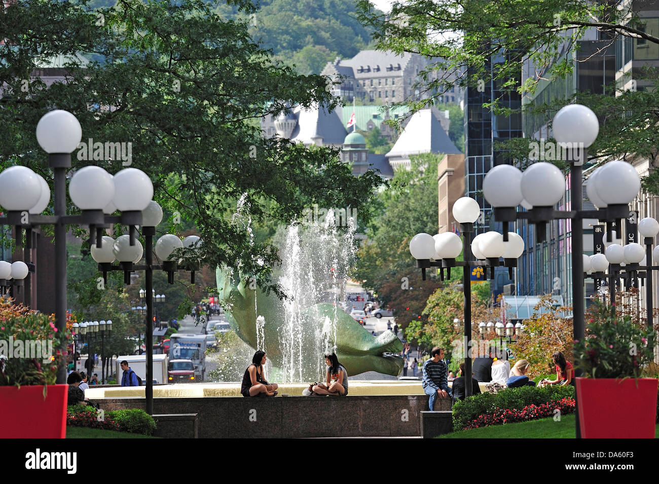Canada, Montreal, Place Ville Marie, Quebec, art, city art, dine, dining, downtown, eating, fountain, friends, girl, Stock Photo