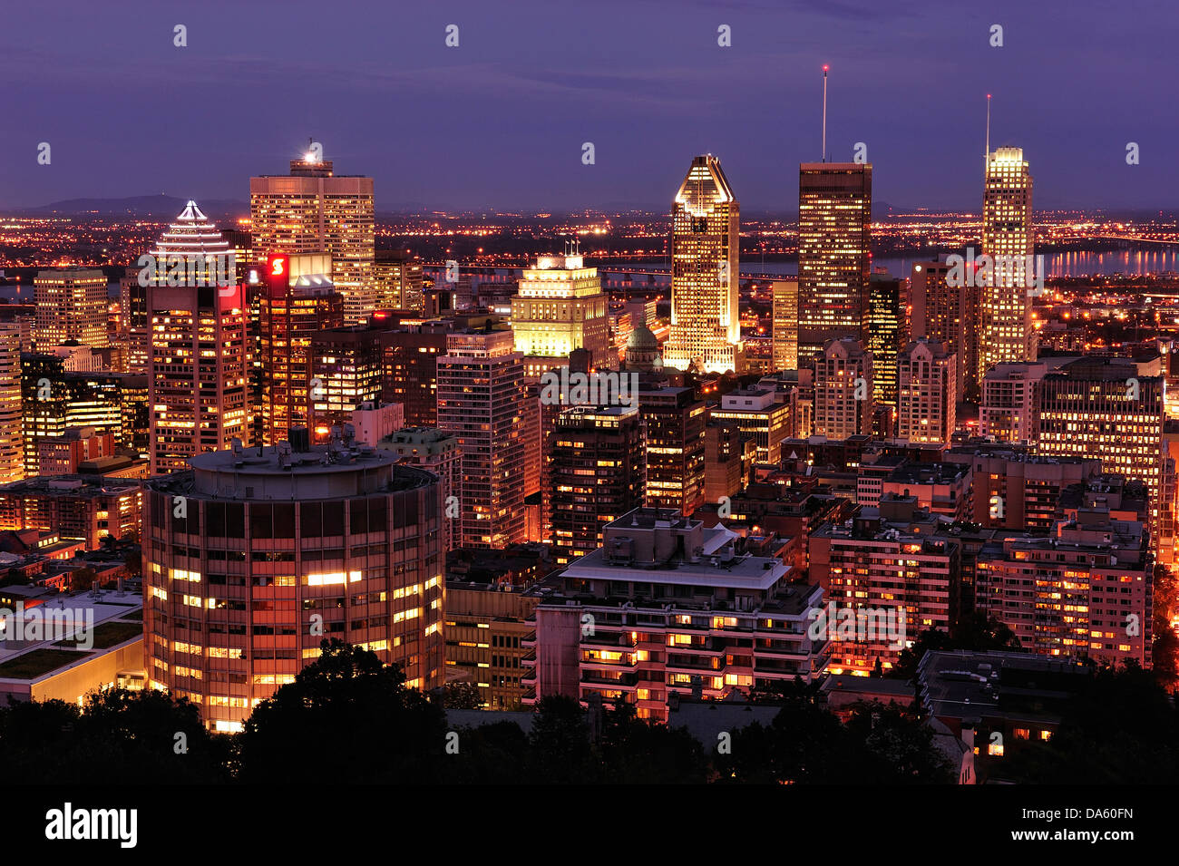 Canada, Lit, illumination, Montreal, Quebec, Traffic, View, Park, Mont Royal, buildings, cars, city, downtown, driving, - Stock Image