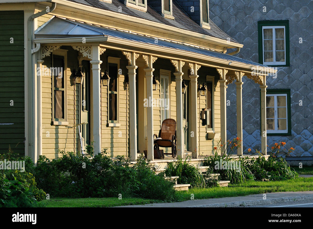 Canada, Deschambault, Garden, Green, Pillars, Quebec, architecture, building, home, homes, house, porch, quaint, - Stock Image