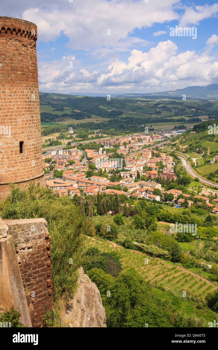 Orvieto Scalo viewed from the town of Orvieto, Italy. - Stock Image