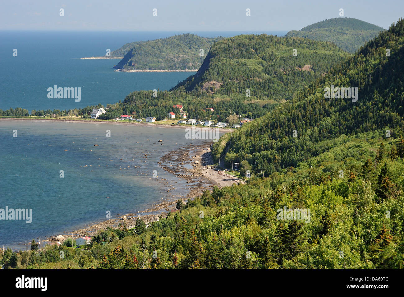 Canada, Parc Nacional du Bic, Quebec, St. Fabien sur mer, forest, horizontal, National Park, panorama, shore, shoreline, Stock Photo