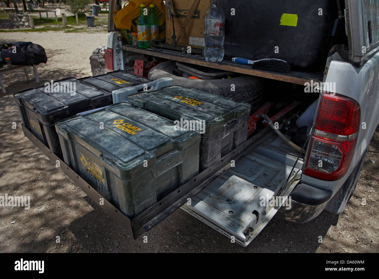 Slide-out equipment drawers on 4x4 camper, Namibia, Africa - Stock Image