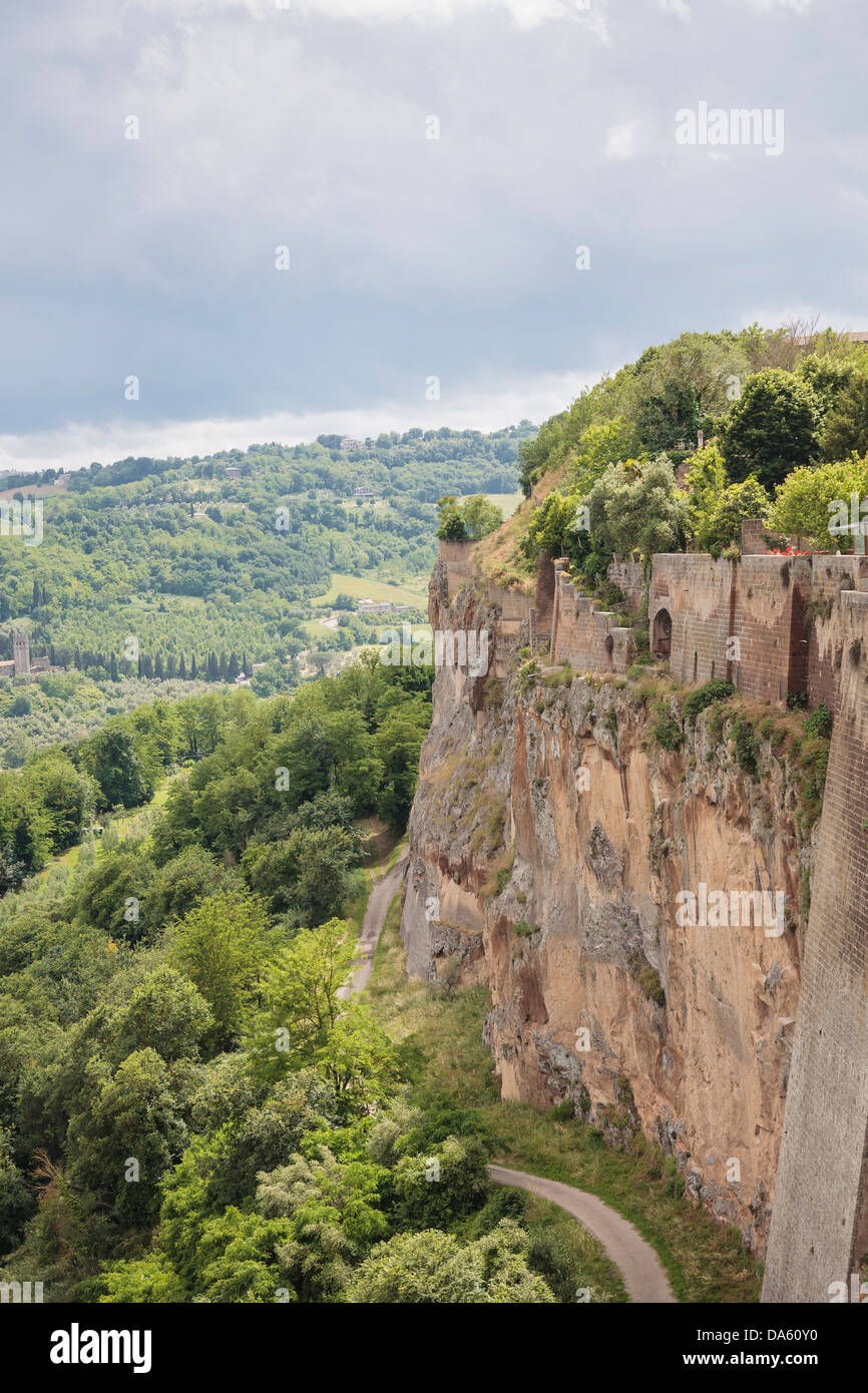 The cliff side on Orvieto, Italy. - Stock Image
