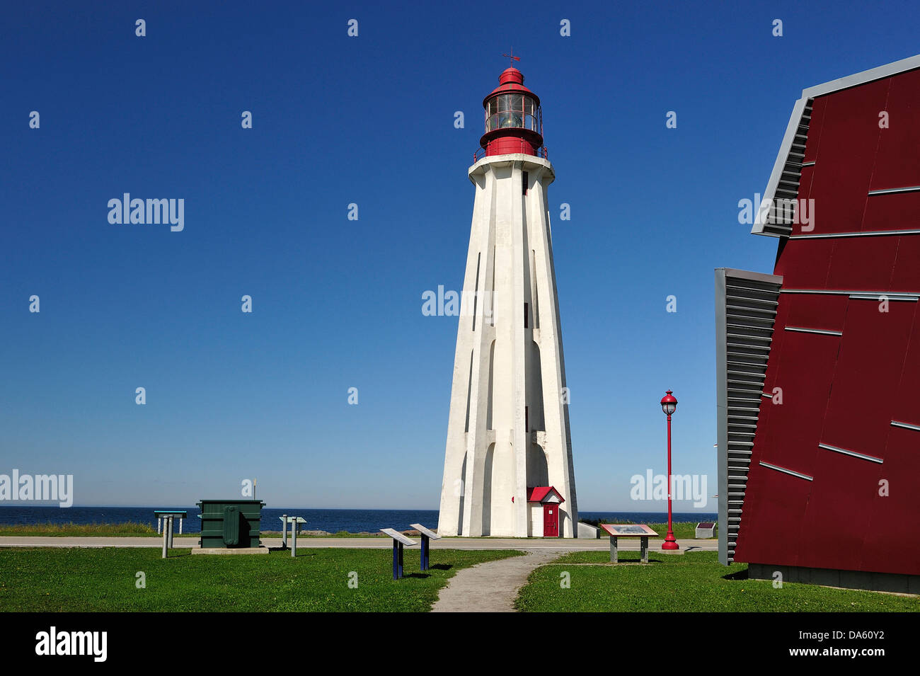 Canada, Lighthouse, Pointe au Pere, Rimouski, architecture, daytime, red, summer, Quebec, building, inclined - Stock Image
