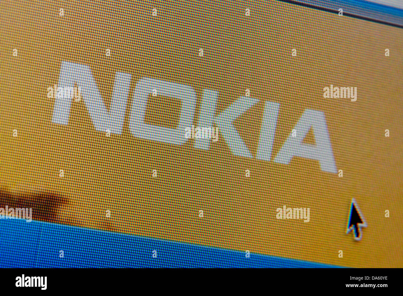 Close up of the Nokia Corporation logo as seen on its website. (Editorial use only: ­print, TV, e-book and - Stock Image