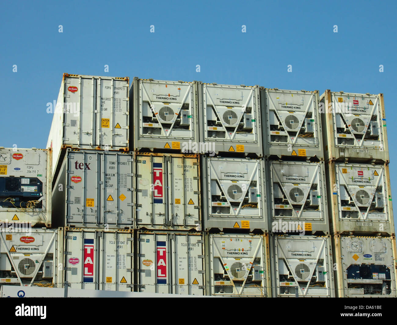 Refrigerated shipping containers stacked on top of each