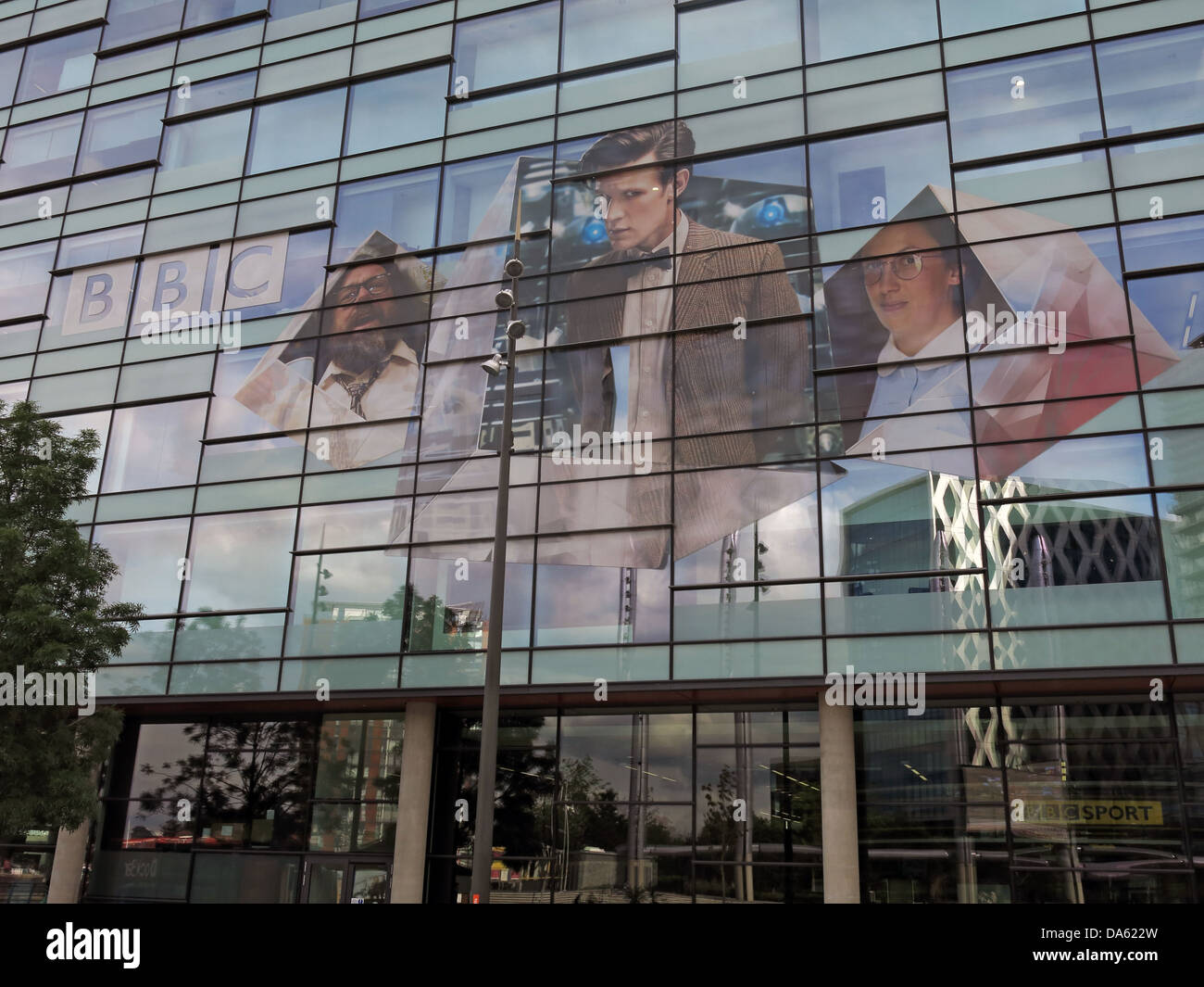 Dr Who image on BBC media city UK Salford Quays , Manchester UK - Stock Image
