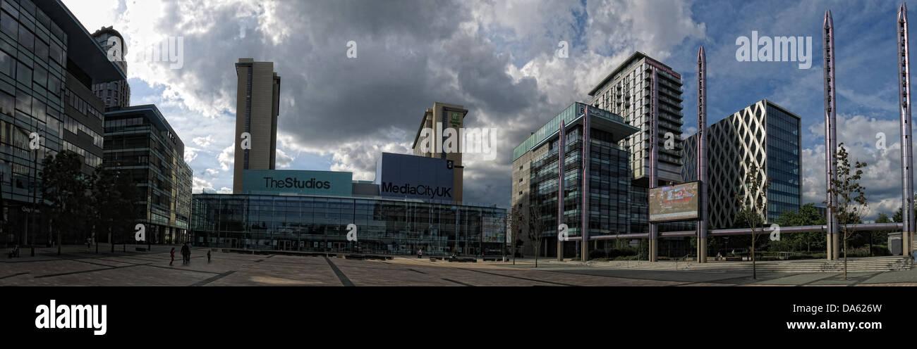 BBC Media City UK Salford Quays Manchester Lancs England - Stock Image